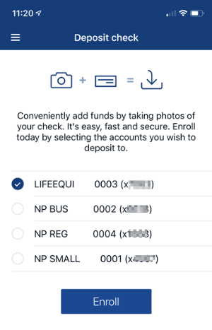 Screenshot of Mobile Deposit account selection in app.