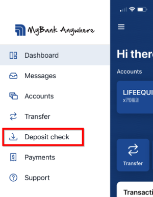 Screenshot of Mobile Deposit menu option in app.